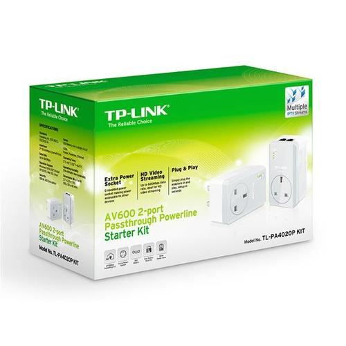 TP-Link AV500 TL-PA4020P 600Mbps Powerline Adaptor with AC Pass Through Starter Kit (Twin Pack) - V1.2