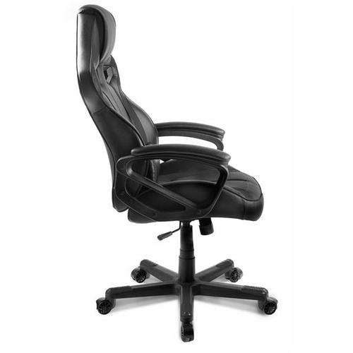 Arozzi Milano Gaming Leather High Back Chair with Adjustable Arms and Headrest - Black Upholstery with Wood Frame