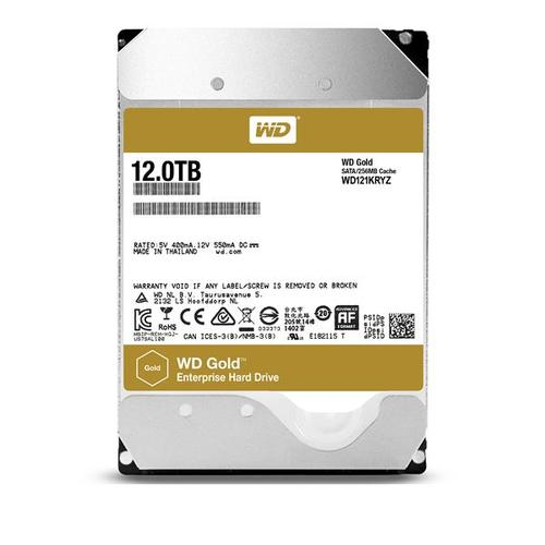 "WD 12TB Gold SATA III 3.5"" 6Gb/s Internal Enterprise HDD - 255MB/s"