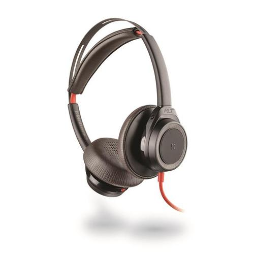 Plantronics - Blackwire BW7225 Corded Boomless USB-C Stereo Headset with Active Noise Canceling - Black