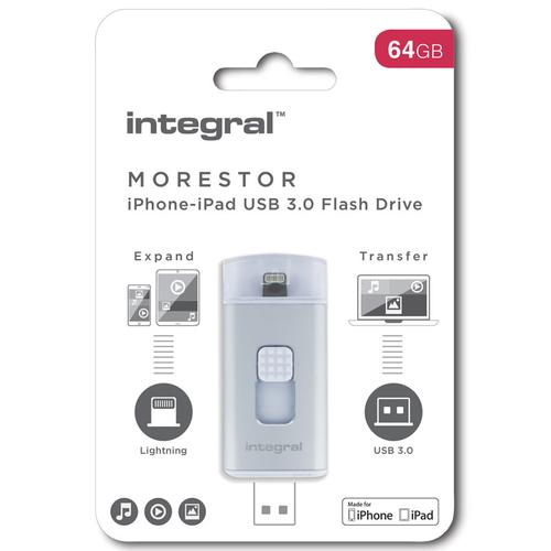 Integral 64GB MoreStor USB 3.0 Lightning Dual Connector Flash Drive - Silver
