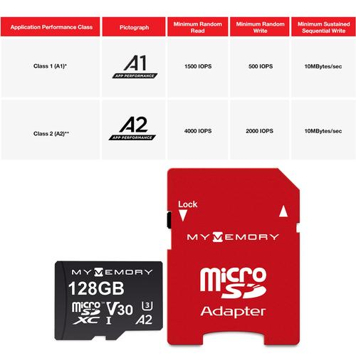 MyMemory 128GB V30 PRO Micro SD Card (SDXC) A2 UHS-1 U3 + Adapter - 180MB/s