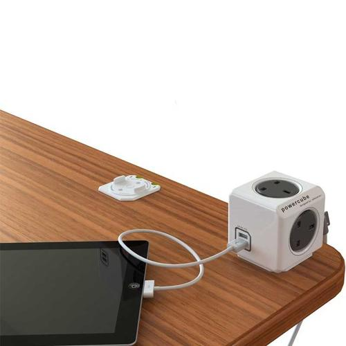 Allocacoc PowerCube - 4 Power Socket + 2 USB Ports - 3M - Grey