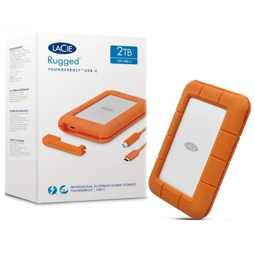 LaCie 2TB Rugged Portable HDD Thunderbolt & USB 3.0 Type-C AES 256-Bit Encryption - 130MB/s