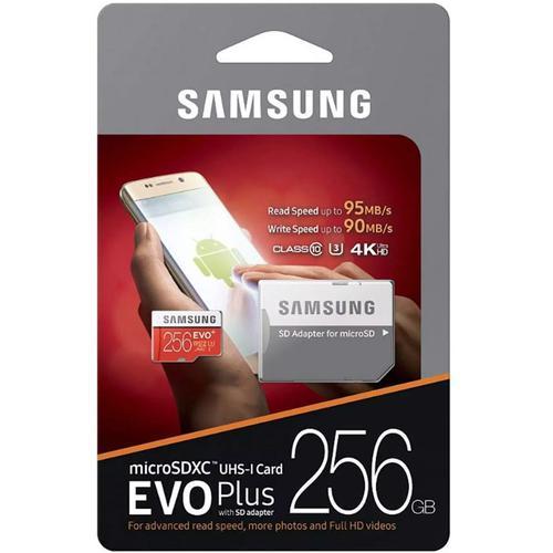 Samsung 256GB EVO Plus Micro SD Card (SDXC) UHS-I U3 + Adapter - 95MB/s