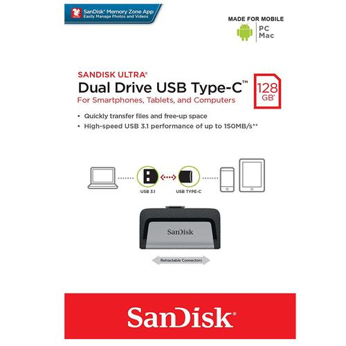 SanDisk 128GB Dual USB-C 3.1 Flash Drive - 150MB/s