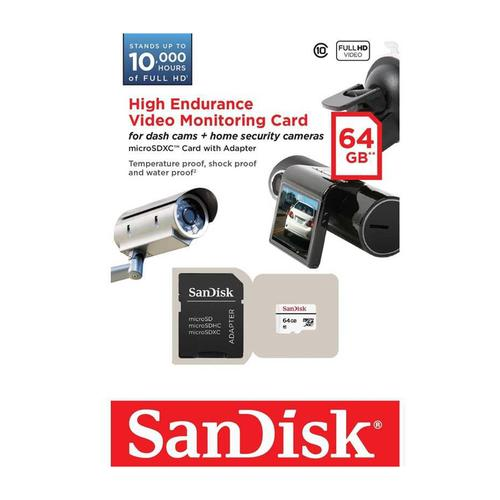 SanDisk 64GB High-Endurance Micro SD Card (SDXC) + Adapter - 20MB/s