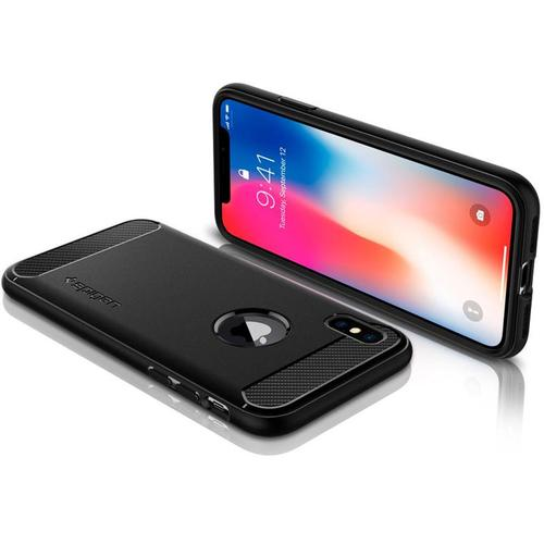 Spigen iPhone X Case Rugged Armor - Matte Black