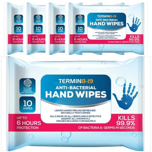 Termin8-19 Anti Bacterial Wipes 75% Alcohol 10 Wipes - 5 Pack