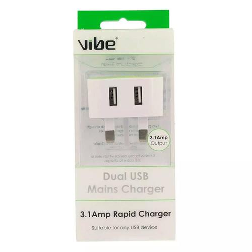 Vibe Dual 3.1A USB Mains Charger - White/Green