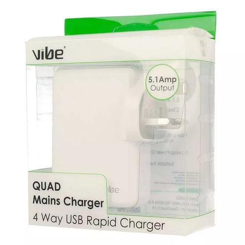 Vibe Quad 5.1A USB Mains Charger - White