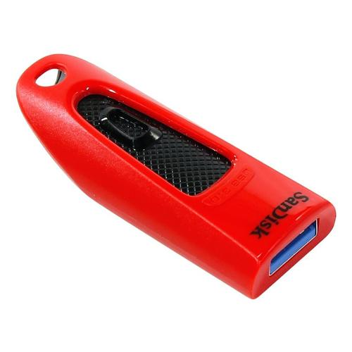 SanDisk 64GB Ultra USB 3.0 Flash Drive - 100Mb/s - Red