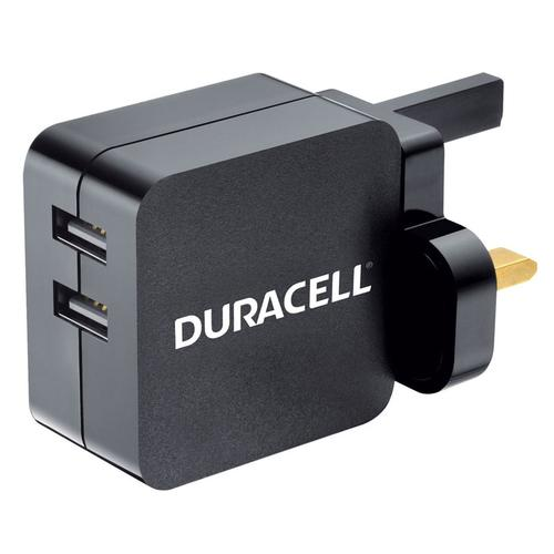 Duracell 4.8A Dual USB Mains Charger - Black