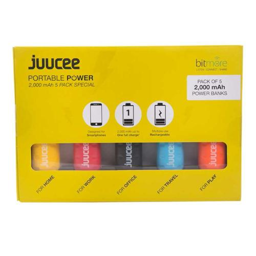 Bitmore Juucee 2000mAh Portable Power Bank - 5 Pack