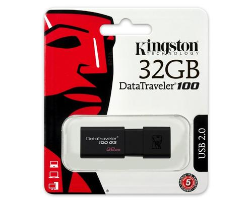 Kingston 32GB DataTraveler 100 G3 USB 3.0 Flash Drive - 100Mb/s