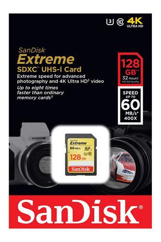 Sandisk 128GB Extreme SD (SDXC) Card UHS-I U3 Class 10 - 60MB/s