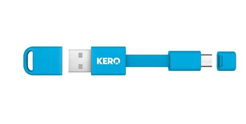 Kero Nomad Micro USB to USB Key Ring Data Charging Cable - Blue