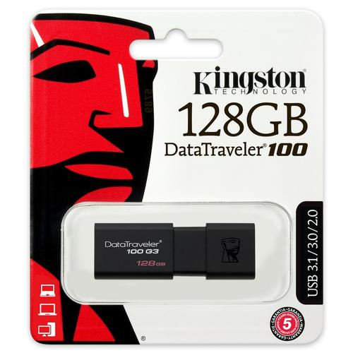 Kingston 128GB DataTraveler 100 G3 USB 3.0 Flash Drive - 100Mb/s