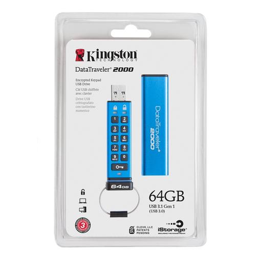 Kingston 64GB DataTraveler 2000 Encrypted Keypad USB 3.1 Flash Drive - 135Mb/s