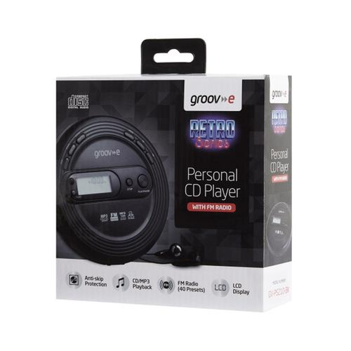 Groov-e Retro Series Personal CD Player with Radio - Black
