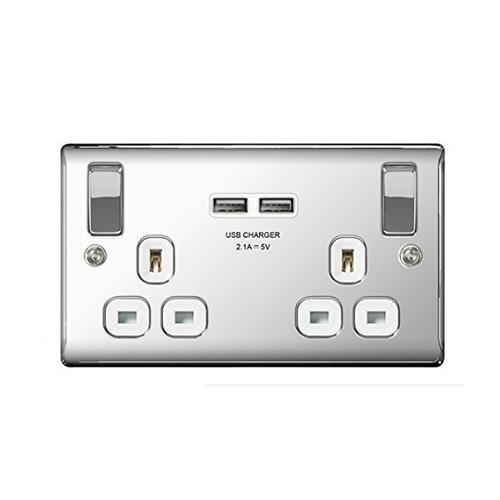 Masterplug Polished Chrome Switched 13A Double Socket + 2 x USB Port - White Insert