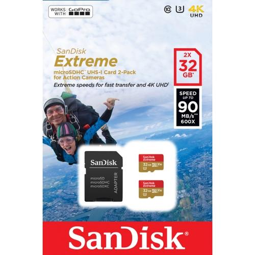 SanDisk 32GB Extreme V30 Action Camera Micro SD Card (SDHC) UHS-I U3 + Adapter - 90MB/s - 2 Pack