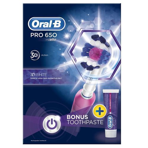 Oral-B Pro 650 Pink 3D White Electric Rechargeable Toothbrush and Toothpaste