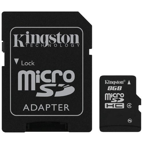 Kingston 8GB Micro SD Card (SDHC) + Adapter - 4MB/s
