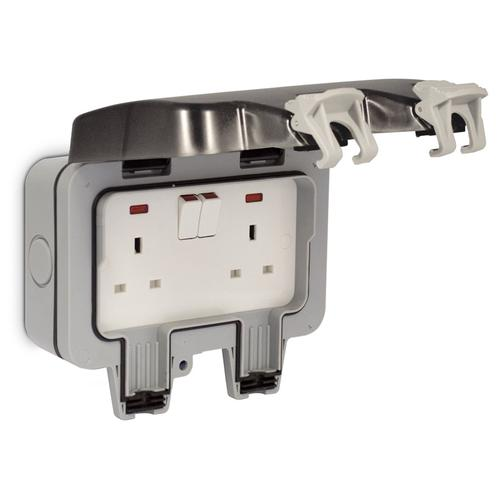 Masterplug 13A 2-Gang Storm Weatherproof Outdoor Switched Socket Double Pole (BGWP22)