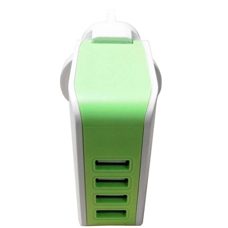 Vibe Quad 5.1A USB Mains Charger - White/Green