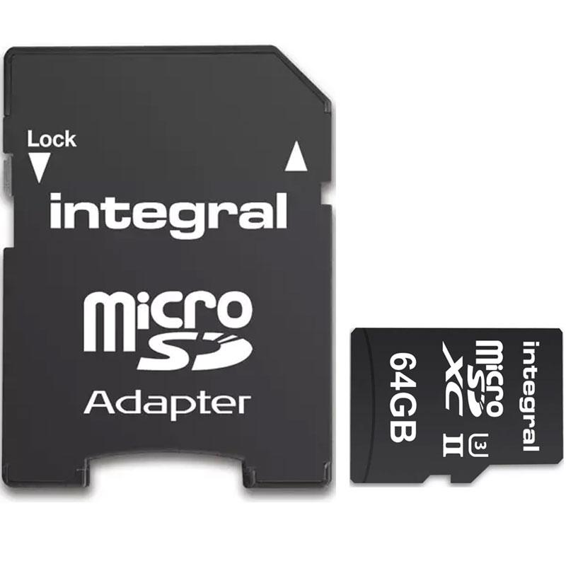 Integral 64GB UltimaPRO-X2 V90 Micro SD Card (SDXC) UHS-II U3 + Adapter - 280MB/s