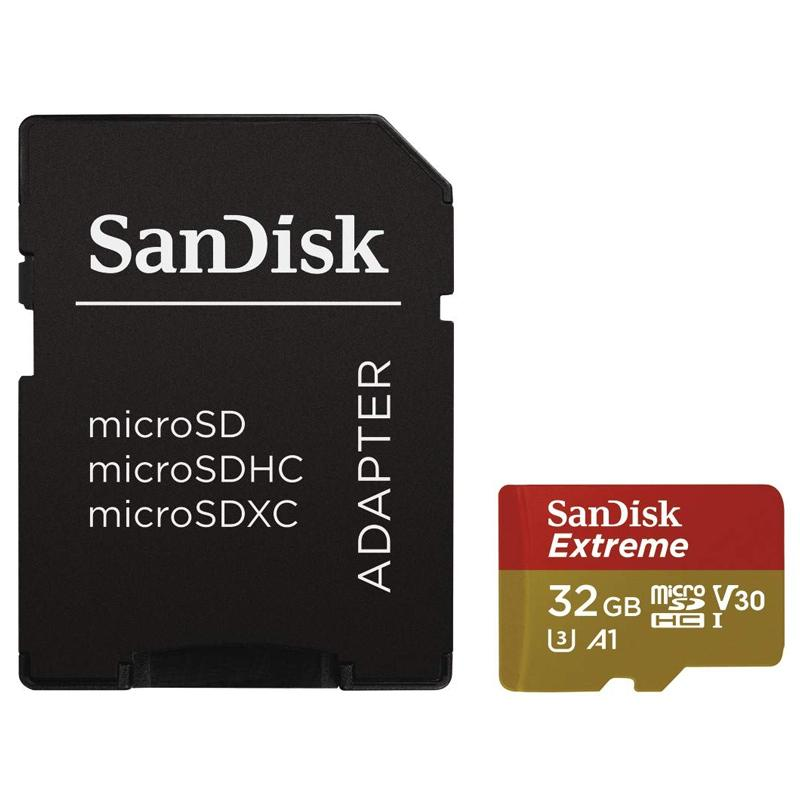 SanDisk 32GB Extreme V30 Action Camera Micro SD Card (SDHC) UHS-I U3 - 100MB/s + Adapter