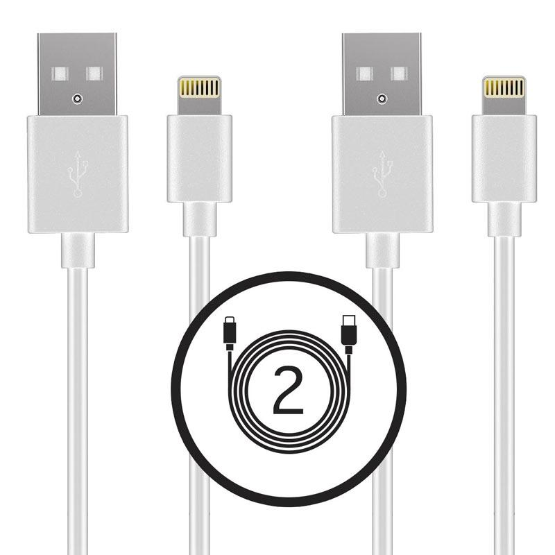 Tek Essentials Apple MFI Certified 1M Lightning Cable - White - Twin Pack