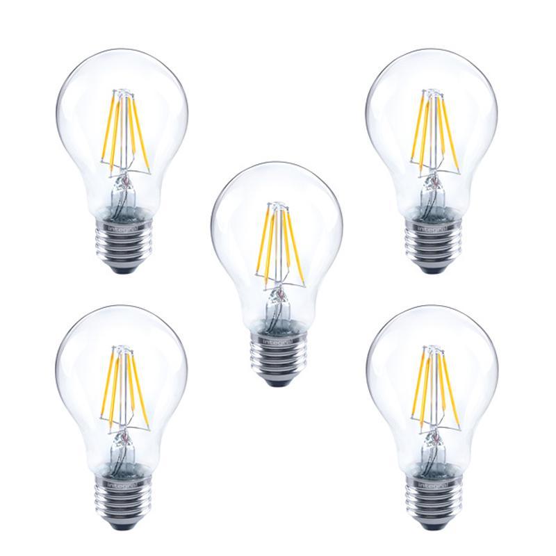 Integral GLS LED Classic Full Glass Bulb E27 4.5W (40W) 2700K Dimmable Lamp - 5 Pack