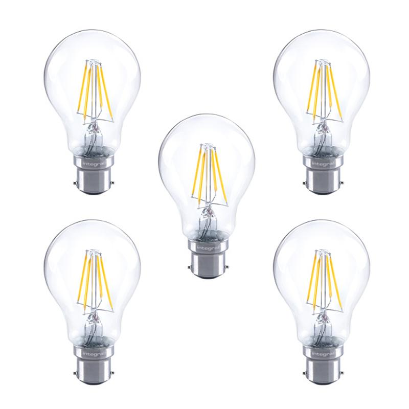Integral GLS LED Classic Full Glass Bulb B22 4.5W (40W) 2700K Dimmable Lamp - 5 Pack