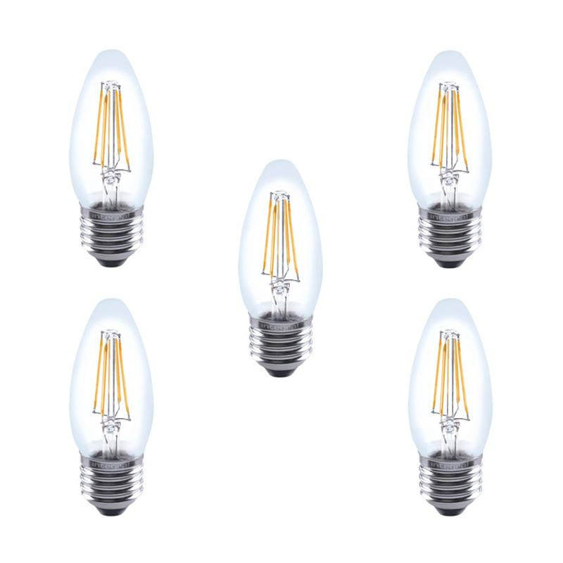 Integral LED Glass Candle Bulb E27 4W (40W) 2700K Non-Dimmable Lamp - 5 Pack