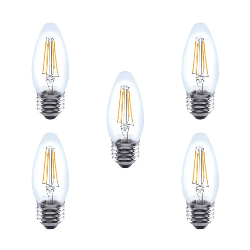 Integral LED Full Glass Candle Bulb E27 4.5W (40W) 2700K Dimmable Lamp - 5 Pack