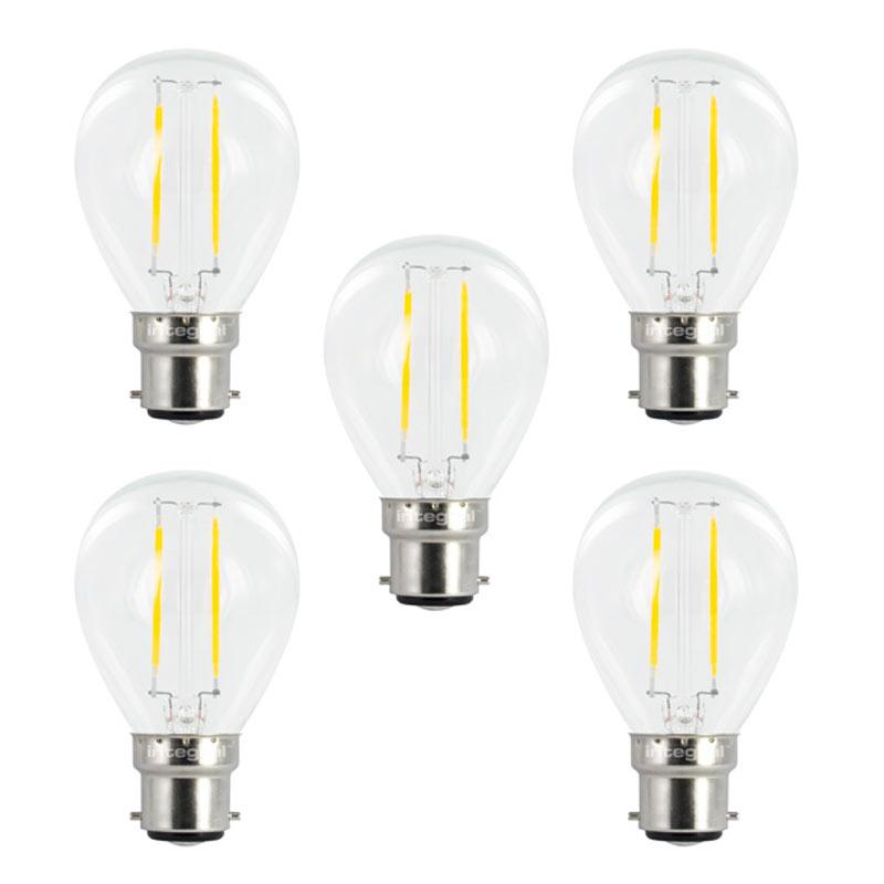 Integral LED Full Glass Mini Globe B22 2W (25W) 2700K Non-Dimmable Lamp - 5 Pack