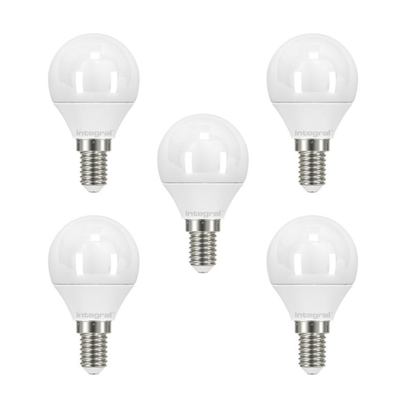 Integral LED Mini Globe E14 3.4W (25W) 2700K Non-Dimmable Frosted Lamp - 5 Pack