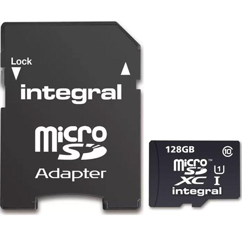 Integral 128GB Micro SD Card (SDXC) UHS-I U1 + Adapter - 80MB/s