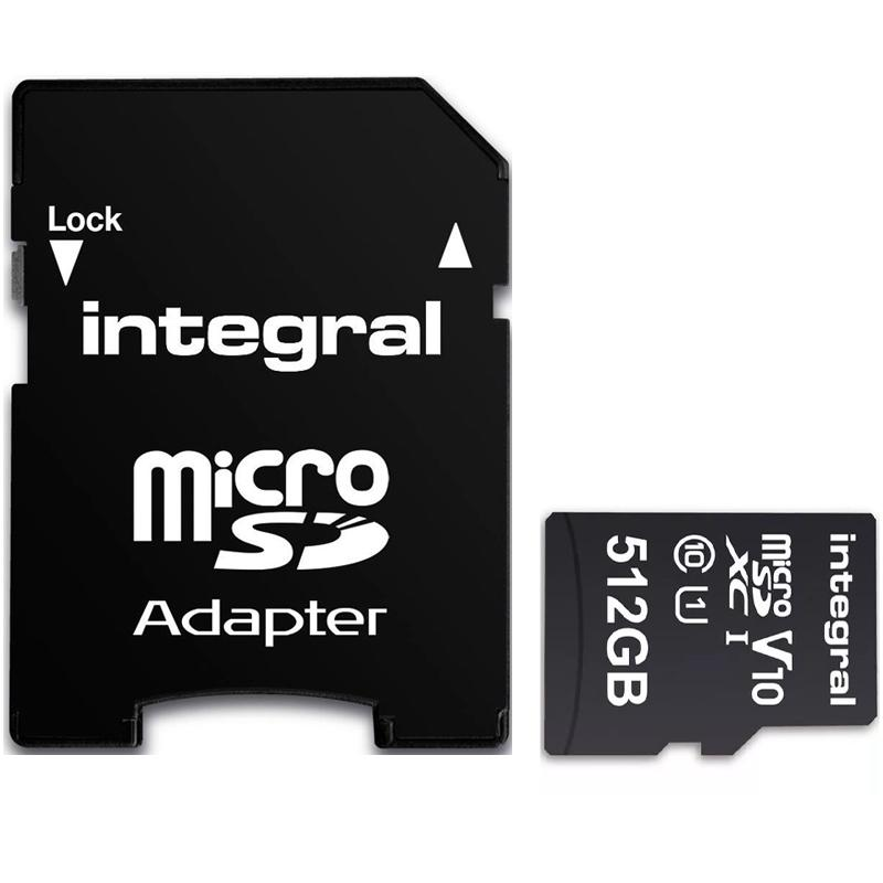 Integral 512GB V10 Micro SD Card (SDXC) UHS-I U1 + Adapter - 90MB/s
