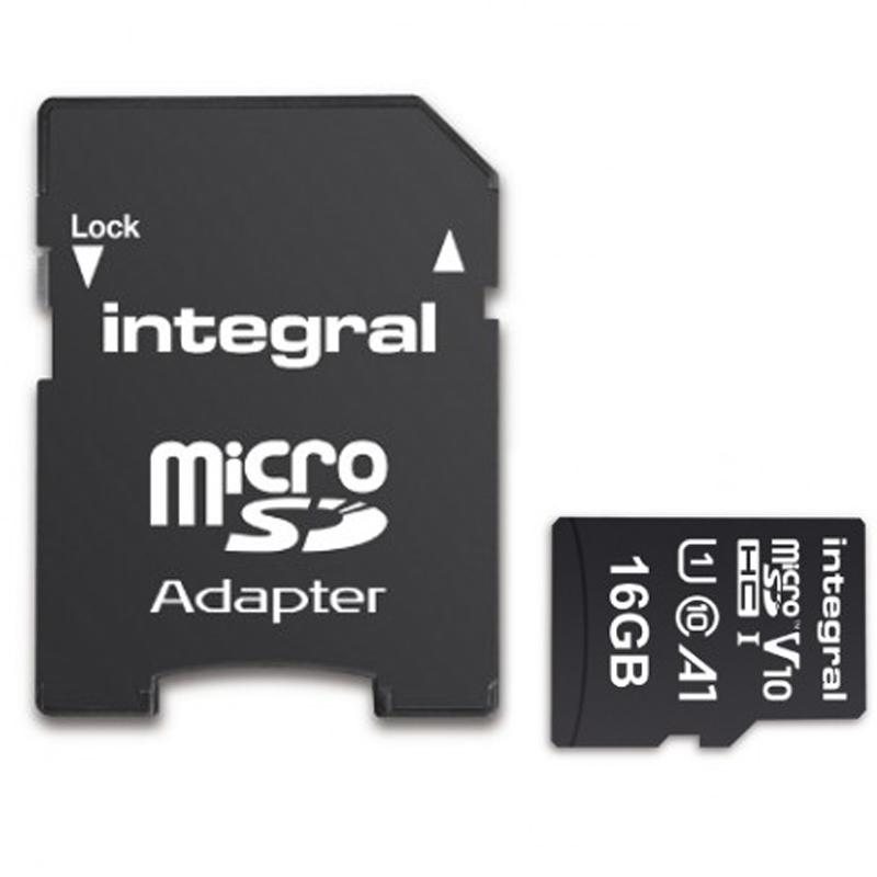 Integral 16GB V10 High Speed Micro SD Card (SDHC) UHS-I U1 + Adapter