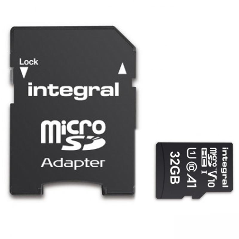 Integral 32GB V10 High Speed Micro SD Card (SDHC) UHS-I U1 + Adapter