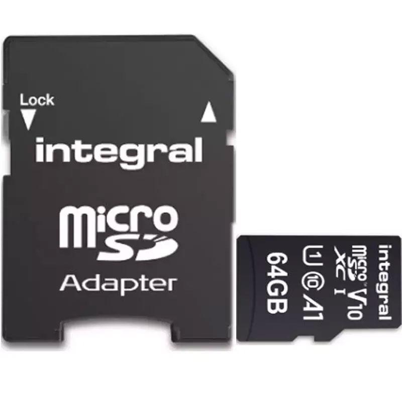 Integral 64GB V10 High Speed Micro SD Card (SDXC) UHS-I U1 + Adapter