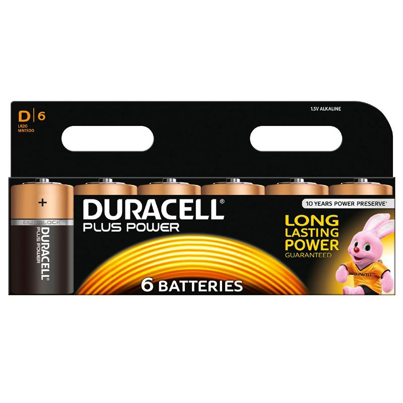 Duracell MN1300 Plus Power D Batteries - 6 Pack