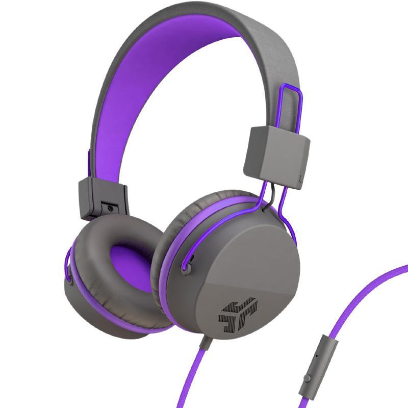 JLab JBuddies Studio Over-Ear Folding Kids Headphones - Purple/Grey