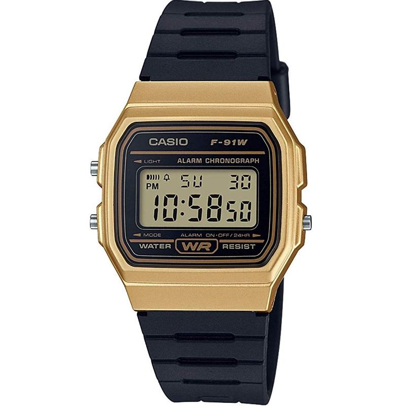 Casio Casual Digital Watch with Black Rubber Strap & Gold Plated Case