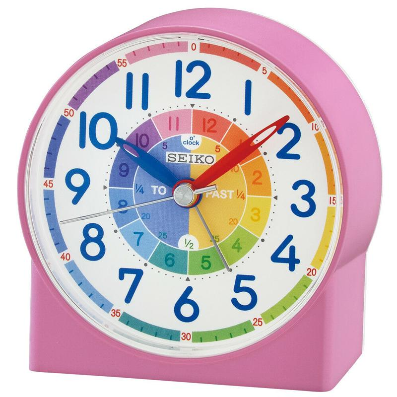Seiko Childrens Time Teraching Alarm Clock - Pink