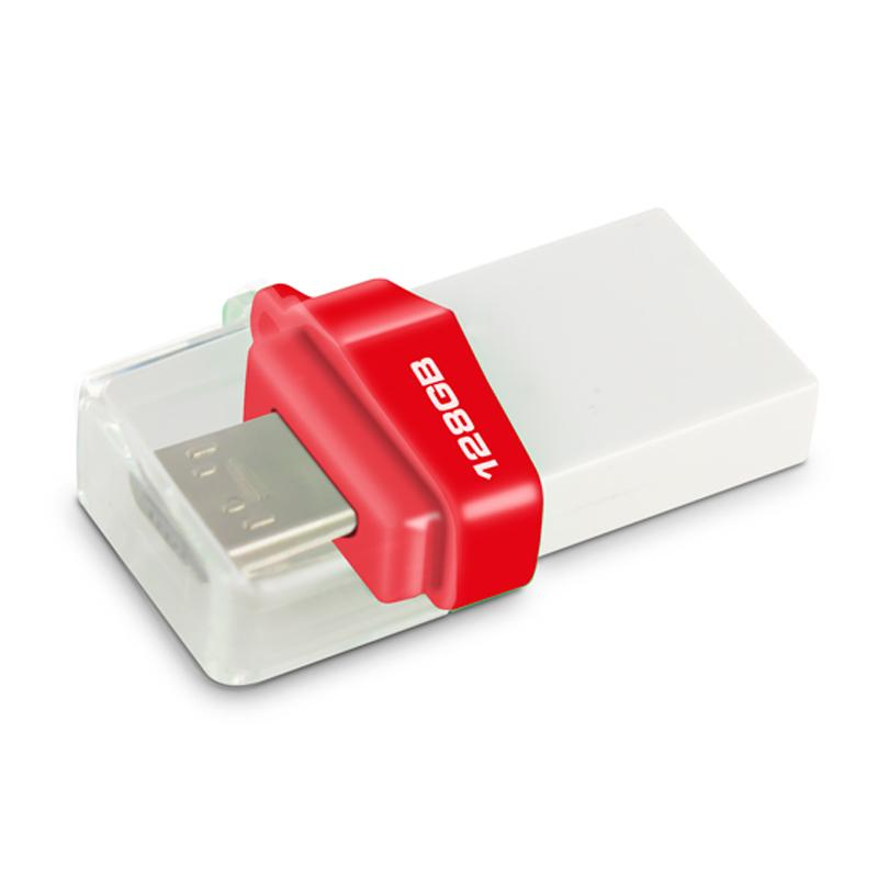 MyMemory 128GB Micro USB/USB 3.0 OTG Flash Drive - White/Red