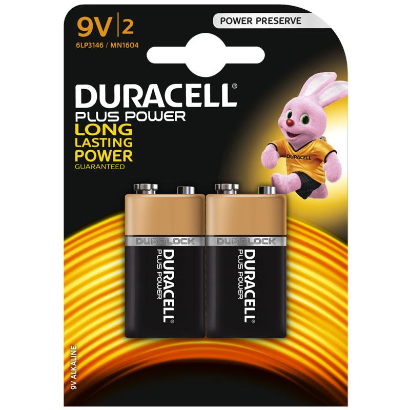 Duracell Plus Power 9V Battery - 2 Pack